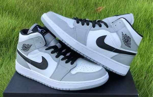 554724-092 Air Jordan 1 Mid Light Smoke Grey Sneakers Hot Sale